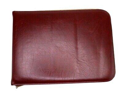 Vintage Cc 3 Ring Binder Organizer Burgundy Oxblood Faux Leather Full Zip Case