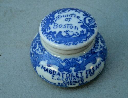 Antique, porcelain, flow-blue, Boston Chemist