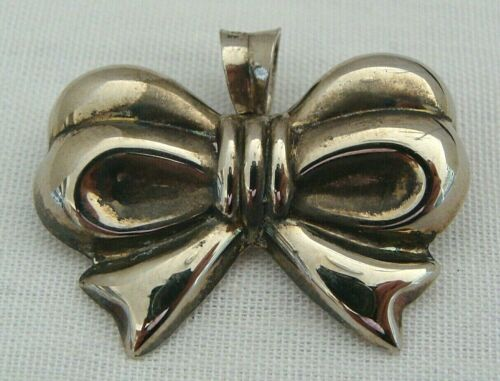 Sterling Silver 3-D Puffy Bow Shaped Pin Brooch Pendant