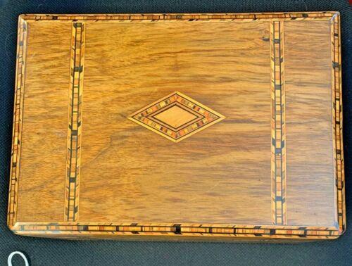 Antique Wood Inlay Design Locking Jewelry Box w/ Tray and Key *MAKE OFFER*