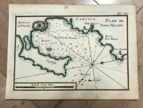 CORSICA PORTO VECCHIO 1764 JOSEPH ROUX ANTIQUE ENGRAVED SEA CHART 18TH CENTURY