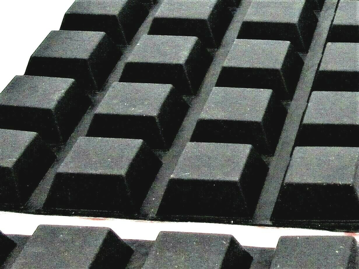 """3/4"""" Square Rubber Feet for Harley Saddlebags. 5/16"""" H. with"""