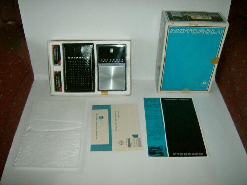 vintage Motorola XP42EE AM Pocket Transistor Radio w/box and paperwork, surfing