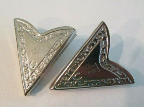 Pair of Silver Tone Screw On Collar Tips Engraved Initials JF