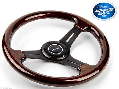 NRG Steering Wheel Classic Wood Grain 3 Spoke black 330mm ST-015-1BK