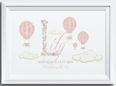 Personalised Baby Name Birth Nursery Christening Gift Floral Picture print