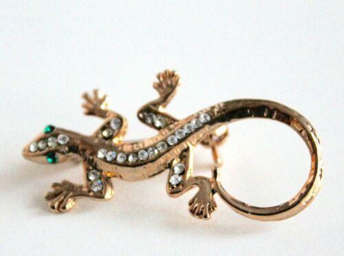 Vintage Rhinestone Gecko Lizard Brooch Pin White Green Crystal Gold Tone Animal