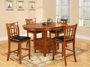 Bar height dining table & 6 chairs - GUC