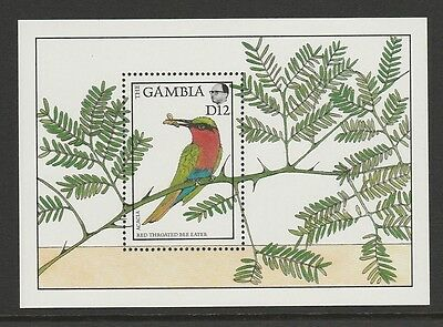 Gambia 1988 Red Throated Bee Eater Mini Sheet SG MS769 MNH