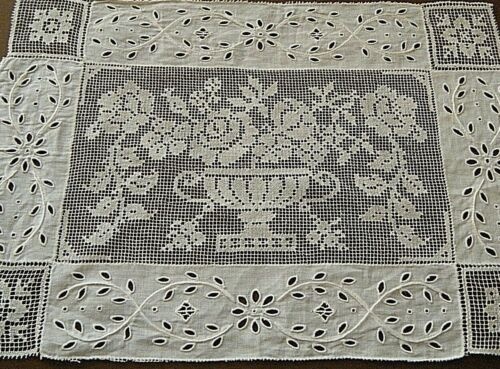 Old Antique lace vanity toper doily combo hand darned net lace &emb/red eyelets