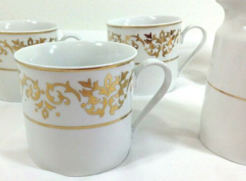 Lot Tienshan White Coffee Cup Dinnerware Gold Creamer Classic Wedding Holiday