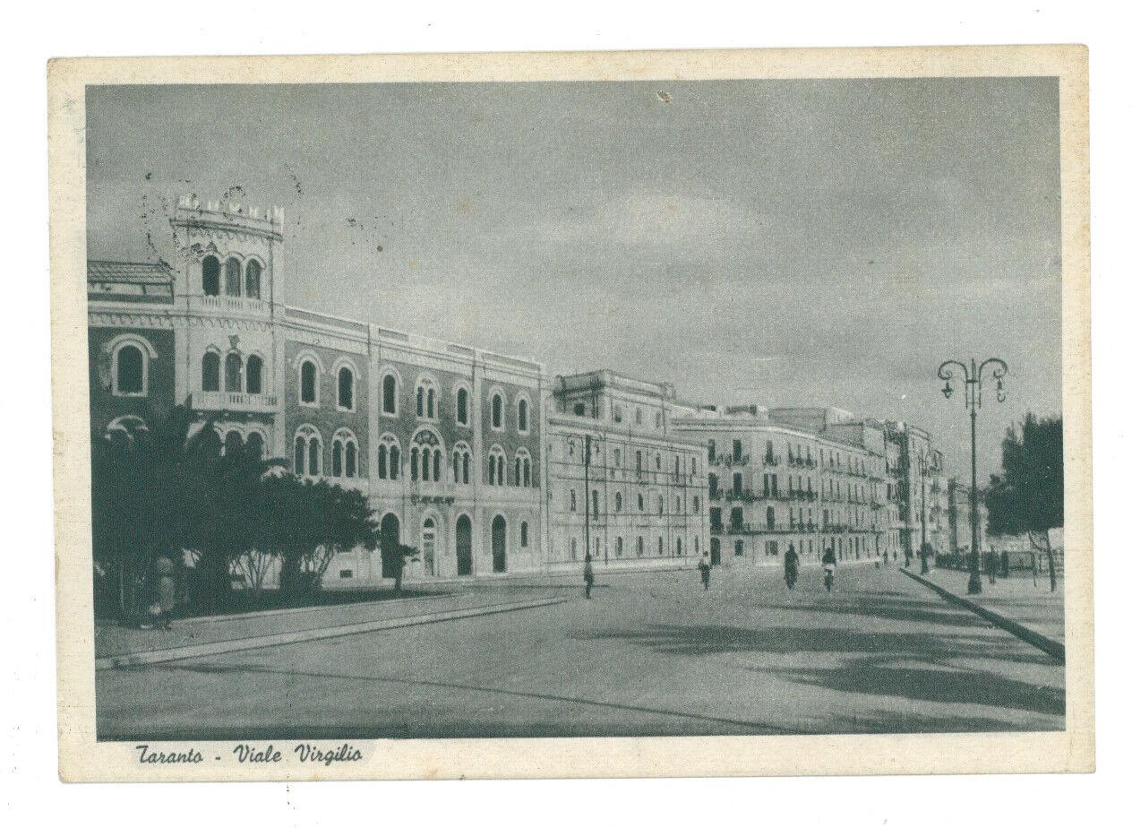 TARANTO VIALE VIRGILIO 1939 VIAGGIATA 1941 SPEDITA FIUME ISTRIA CAPITANERIA