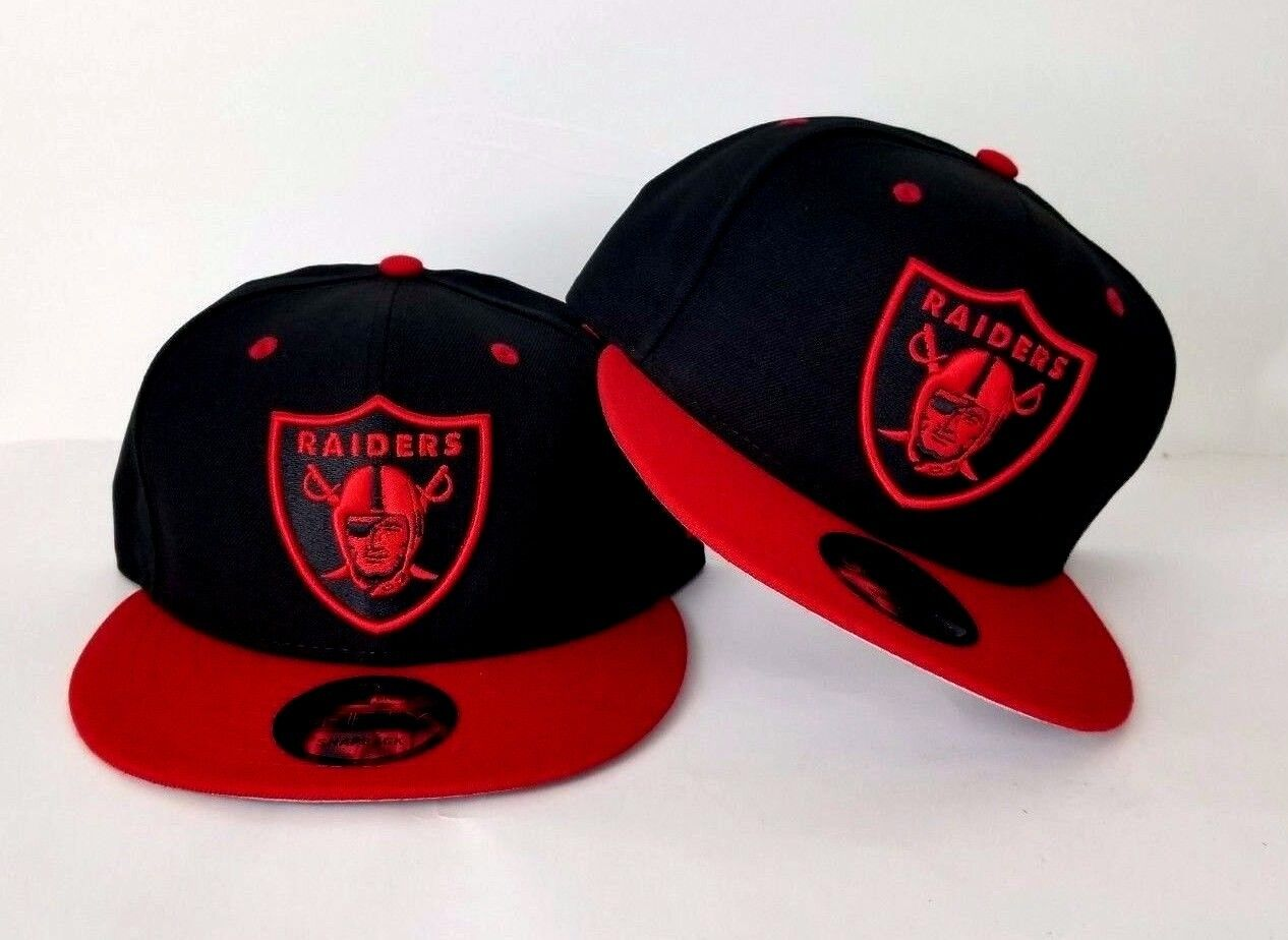 New Era NFL Oakland Raiders Shield Logo 9Fifty Snapback Hat Black   Red 178a0838aed