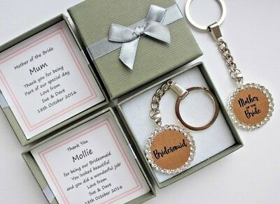 BRIDESMAID THANK YOU MOTHER OF THE GROOM BRIDE GIFT WEDDING BAG CHARM KEY RING](Mother Of Bride Gifts)