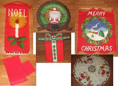 Completed Finished Xmas Jeweled Felt Latch Hook Wallhanging Lot Free Tree Skirt