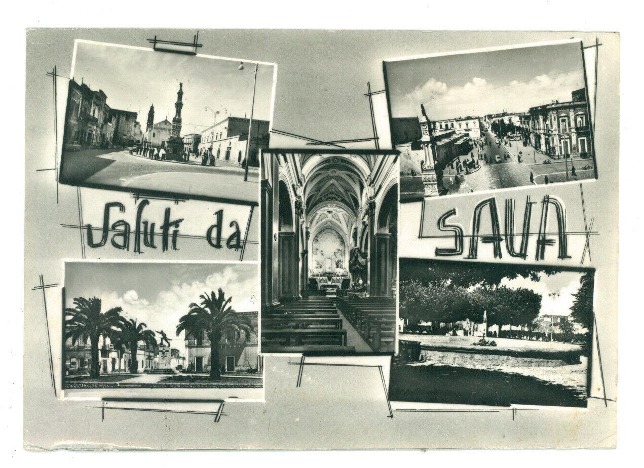 SAVA SALUTI DA VEDUTINE TARANTO VIAGGIATA 1967 PUGLIA