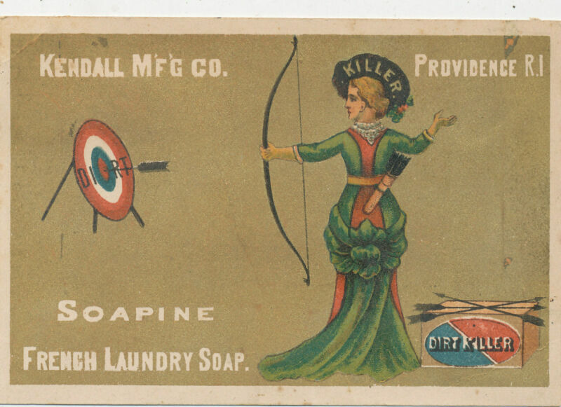 D2509  VICTORIAN TRADE CARD  KENDALL SOAP SOAPINE ARCHERY