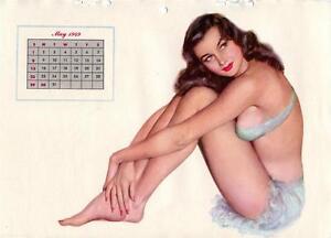 VINTAGE-AL-MOORE-MAY-1949-ESQUIRE-CALENDAR-MONTH-PAGE-BRUNETTE-BIKINI-PINUP