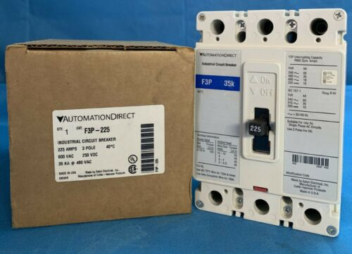 AUTOMATION DIRECT F3P-225 CIRCUIT BREAKER 225 A NEW BOXED, SAME AS FD3225 EATON