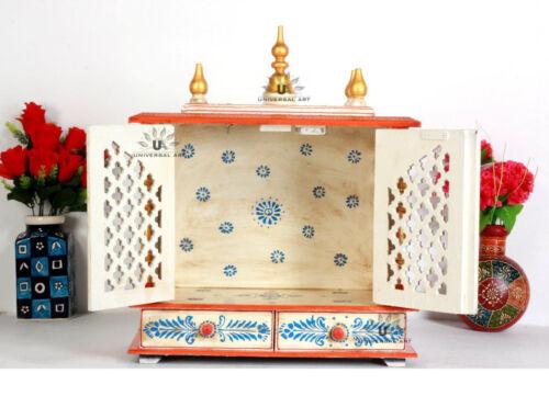 Wooden Handcrafted Hindu Temple Mandir Pooja Ghar Mandapam for Worship Hawan-105
