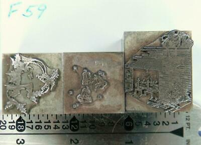Letterpress Print Christmas Ornament Cut X2 2c Holly Bells 1c Fireplace F59 2