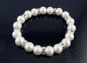 Glass faux pearl bead and diamante elasticated bracelet BRIDAL/PROM