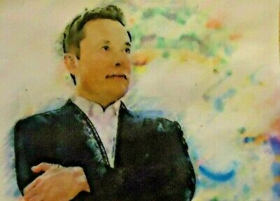 ACEO ATC Elon Musk-Richest Person Hand-Rendered Wet Watercolor