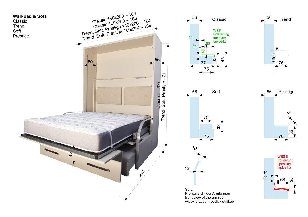 schrankbett wandbett klappbett sofa wbs 1 soft 140 x. Black Bedroom Furniture Sets. Home Design Ideas