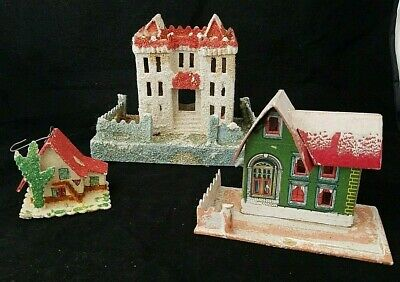 Lot of 3 Vintage Putz Houses Christmas Village Decorations Castle Ornament