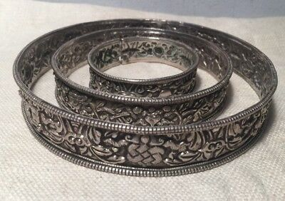 3 Antique Ethnic Tribal Sterling Silver Ornate Floral Arm & Leg Bracelets