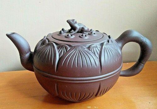 Chinese Yixing Zisha Teapot Frog Lotus decoration Signed Carved Purple