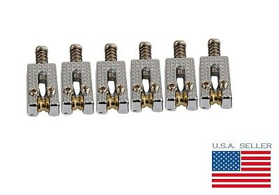 Set of 6 Chrome Guitar Roller Bridge Saddles for Fender Stratocaster Tremolo NEW