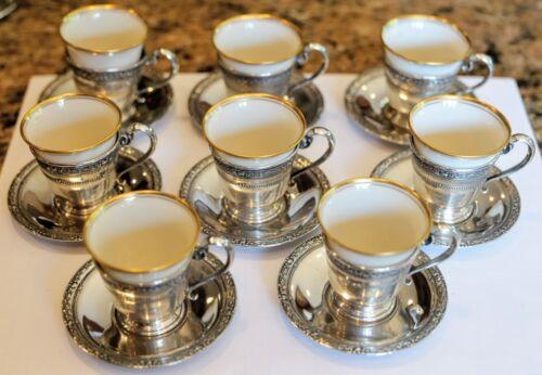 Vintage Pierced Sterling Silver Demitasse  Insert EIGHT  Cups Saucer