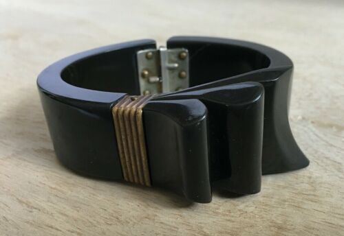 Vintage Carved Black Oxidized Green Ribbon Bow Clamper Bakelite Bracelet Tested