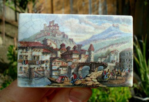 "Antique (ca 1870) oblong ""Tyrolese Village Scene"" PRATTWARE pot lid....good cond"