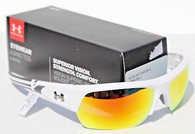 UNDER ARMOUR Big Shot Sunglasses Shiny White/Orange Multi NEW Sport/Cycle (Big White Sunglasses)