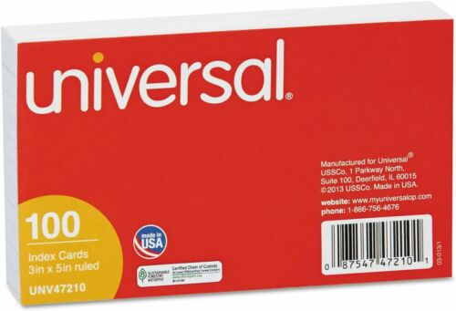 Universal Index Cards-Ruled Index Cards 3 x 5 White Acid-free Classic 100-Count