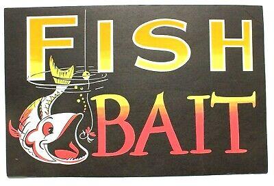 Vintage Paper 1970s Neon Black Light FISH BAIT Store Advertising Sign