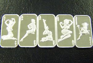 Complete Set of 5 x .999 Fine Silver Bars - CARD SERIES - 5 x 1 GRAM
