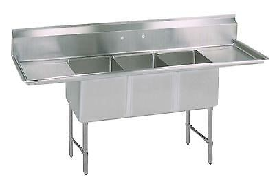 Bk Resources 75 3 Compartment Sink Ss Leg 15 Left Right Drainboard