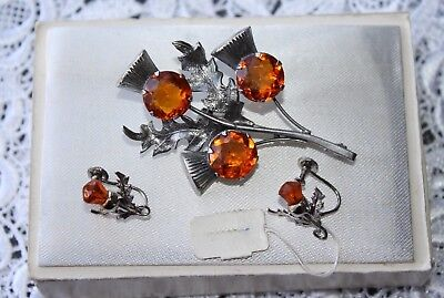 1940`s Signed WBS Sterling Silver Citrine Paste Thistle Brooch & Earring set