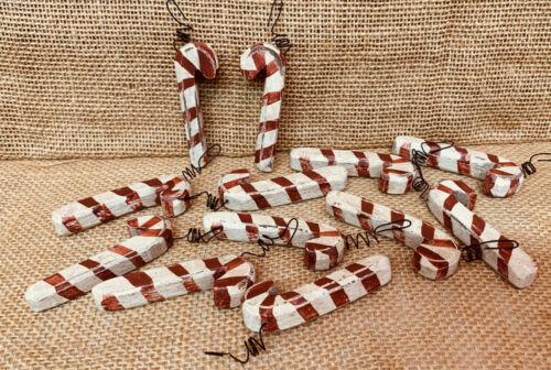 "Primitive Rustic Christmas "" CANDY CANE ORNAMENTS ""  Mini Wood Set/12"