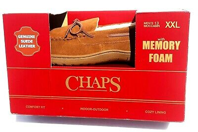 Chaps Faux Suede Moccasin Slippers, Memory With Foam Men's Size 13 XXL
