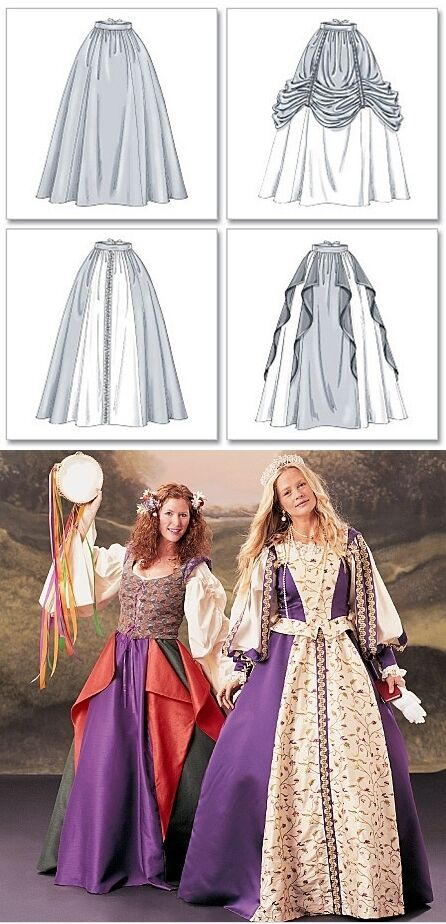 4 STYLES SKIRTS RENAISSANCE FAIRE COSTUMES SEWING PATTERN Size 10-12-14-16 - $5.98