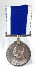 WWI Royal Navy Long Service Good Conduct Medal Inscribed Rim