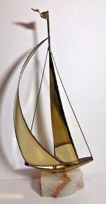 Vintage Brass Sailboat Mid Century Modern Mario Jason Nautical Onyx Stone Base
