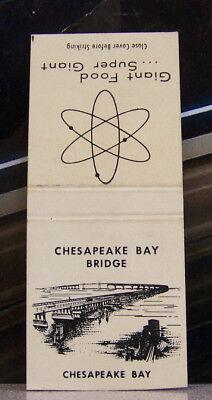 Rare Vintage Matchbook N1 Chesapeake Bay Bridge Annapolis Maryland Giant Food