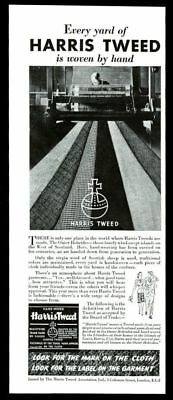1940 Harris Tweed fabric rolls weaver loom photo vintage print ad