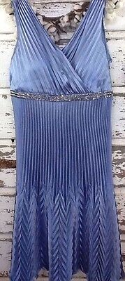 Cachet Womens Dress 18W Empire Pleated Blue Silver Beading Mother Of Bride Groom