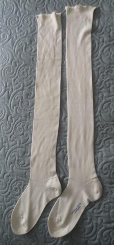 Vtg Ecru Cotton & Rayon Knee Socks Garter